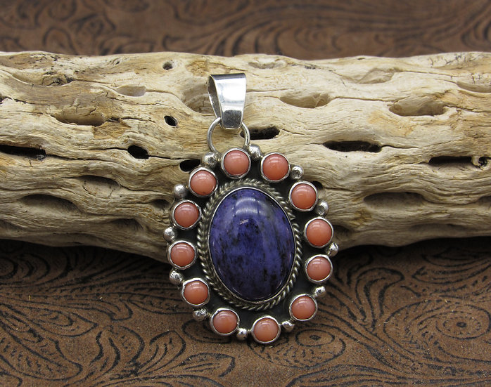Navajo Charoite and Pink Coral Sterling Silver Pendant