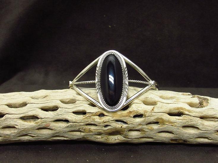 Navajo Sterling Silver Oval Onyx Cuff Bracelet by Dine Begaye