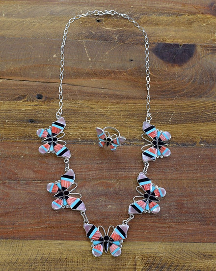 Zuni Multi-color Butterfly Inlay Necklace and Ring set