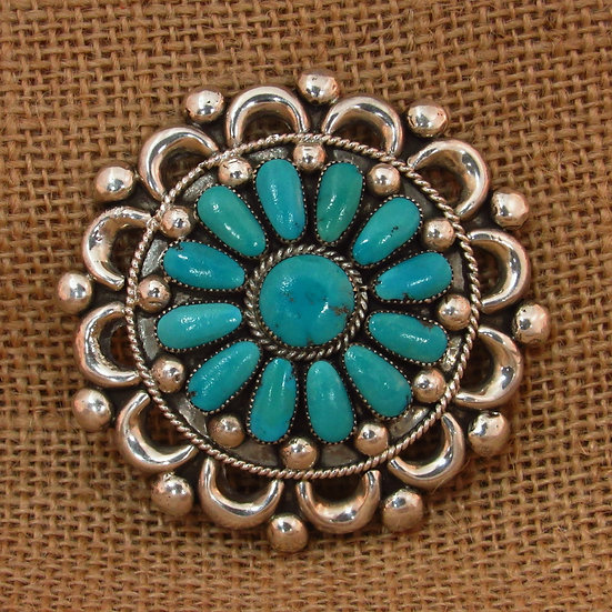 Zuni Turquoise Cluster Sterling Silver Pin/Pendant