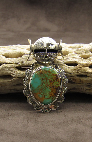 Sterling Silver Green Turquoise Native American Maiden Pin Pendant