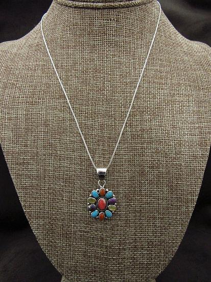 Multi-Color Sterling Silver Cluster Necklace