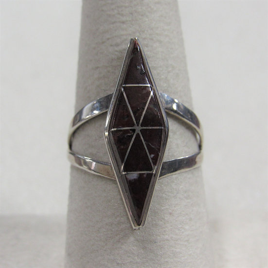 Sterling Silver and Brown Stone Inlay Zuni Ring by J & R Cly