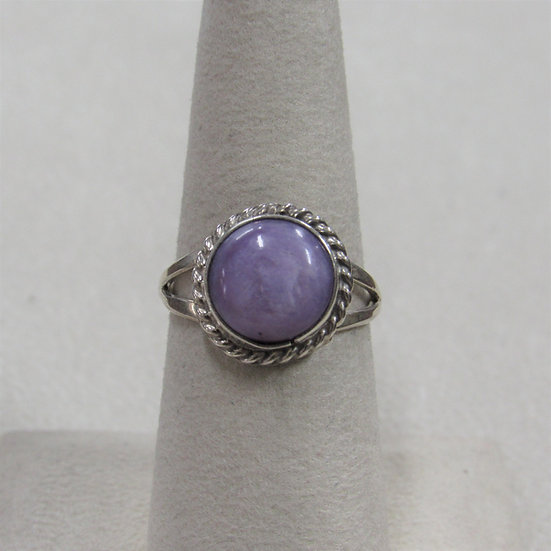 Sterling Silver and Charoite Ladies Ring Size 7.25
