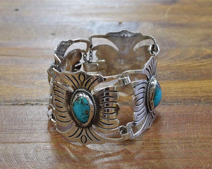 Vintage Turquoise Sterling Silver Link Bracelet