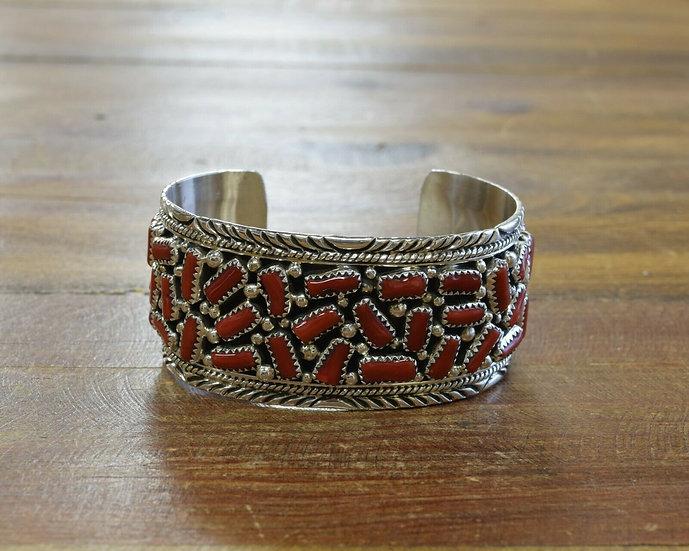 Navajo Sterling Silver Coral Cluster Cuff Bracelet