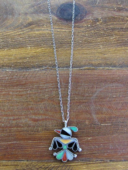 Vintage Zuni Thunderbird Inlay Sterling Silver Pendant with Chain