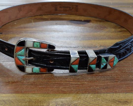 Vintage Zuni Multi-Stone Inlay Sterling Silver Ranger Set on Leather Belt