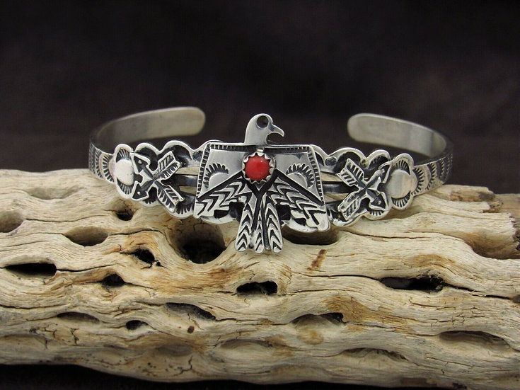 Sterling Silver Coral Thunderbird Cuff Bracelet By Russell Sam