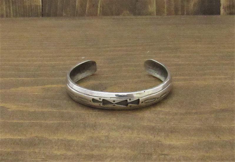 Petite Vintage Sterling Silver Stamped Cuff Bracelet