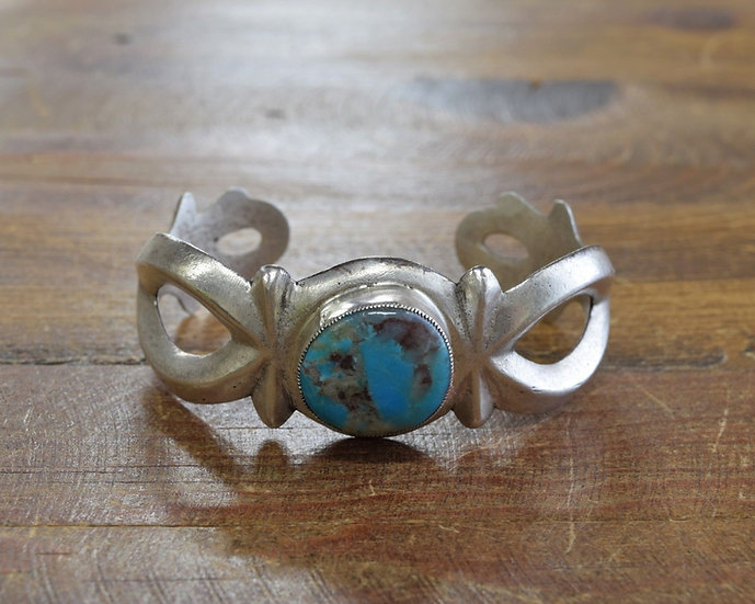 Vintage Navajo Sterling Silver and Turquoise Sandcast Cuff Bracelet