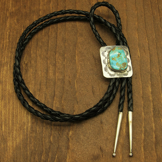 Beautiful Turquoise in Southwest Sterling Silver Bolo Tie
