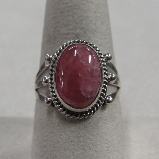 Southwest Sterling Silver and Rhodochrosite Ladies Ring Size 8.5