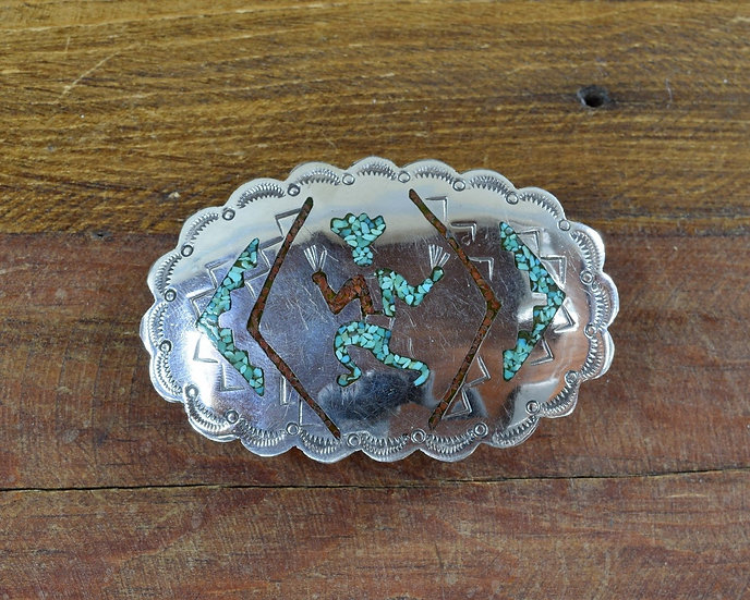 Vintage Navajo Sterling Silver Turquoise Coral Chip Inlay Kachina Belt Buckle