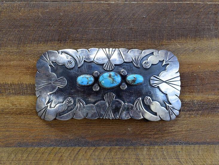 Vintage Southwest Turquoise Overlay Sterling Silver Belt Buckle