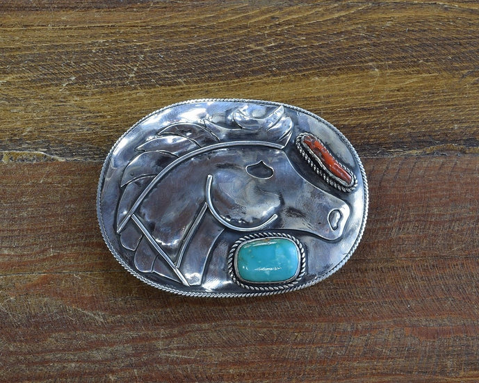 Vintage Sterling Silver Turquoise and Coral Horse Belt Buckle