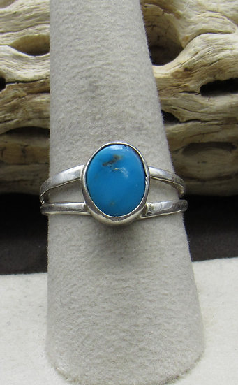 Navajo Made Turquoise and Sterling Silver Ring Size 9