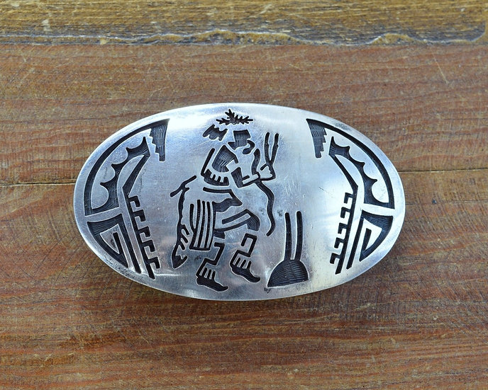 Hopi Mitchell Sockyma Sterling Silver Belt Buckle With Snake Dancer Kachina