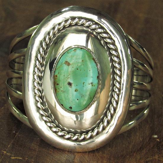 Vintage Sterling Silver and Turquoise Split Shank Cuff Bracelet