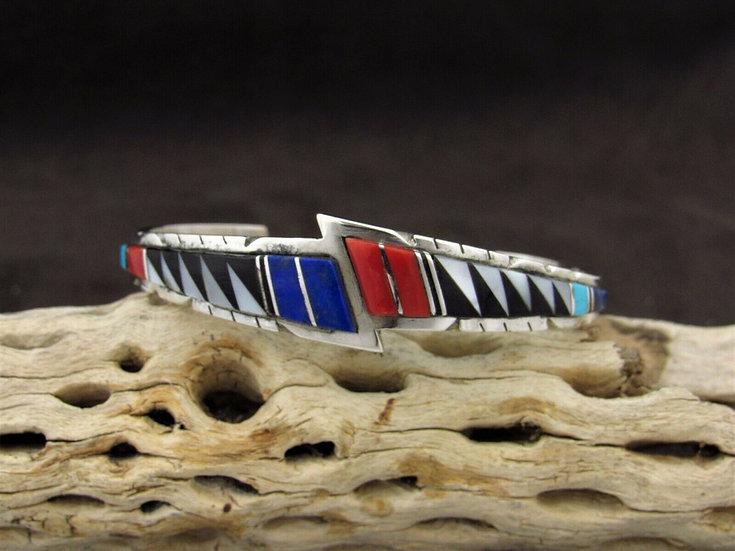 Modern Sterling Silver Multi Stone Inlay Cuff Bracelet