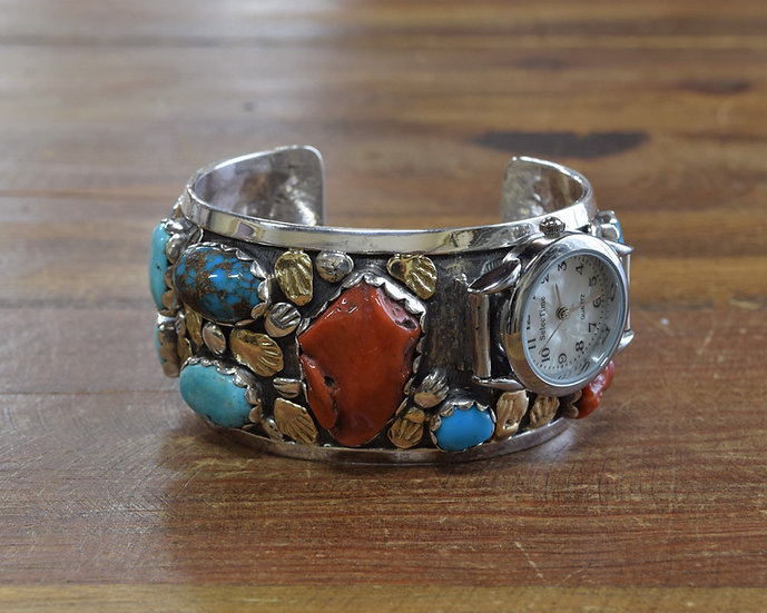 Sterling Silver Coral and Turquoise Side Mounted Watch Cuff Bracelet