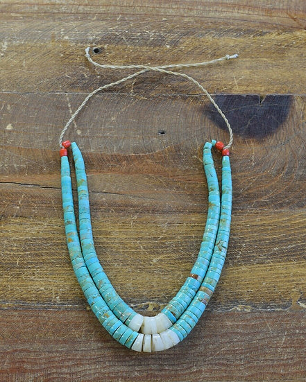 Vintage Turquoise and Mother of Pearl Beaded Heishi Necklace