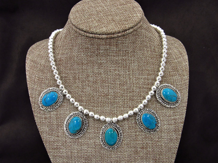 Navajo Silver Bead and Turquoise Necklace