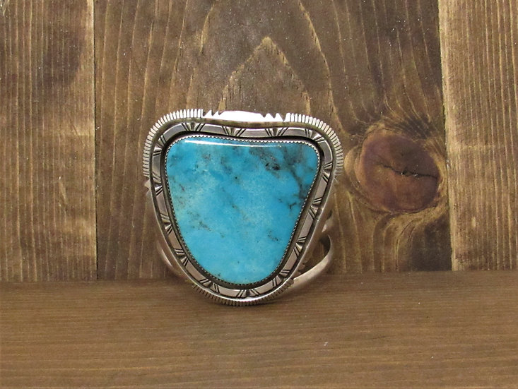 Vintage Navajo W. J. Johnson Sterling Silver and Turquoise Cuff Bracelet
