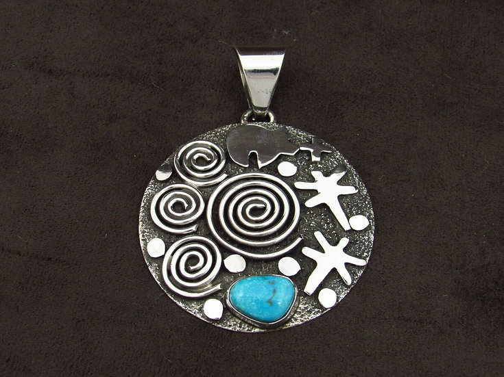 Sterling Silver Overlay Turquoise Pendant by Alex Sanchez