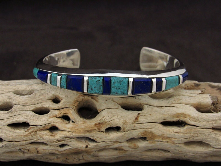 Sterling Silver Lapis and Turquoise Inlay Cuff Bracelet