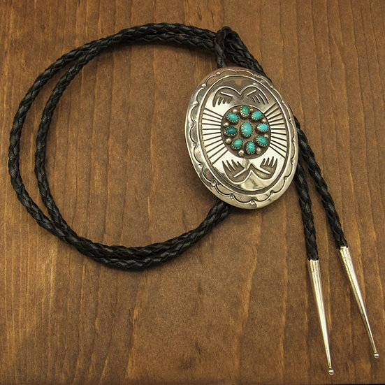 Large Sterling Siler and Turquoise Southwest Bolo Tie bolo
