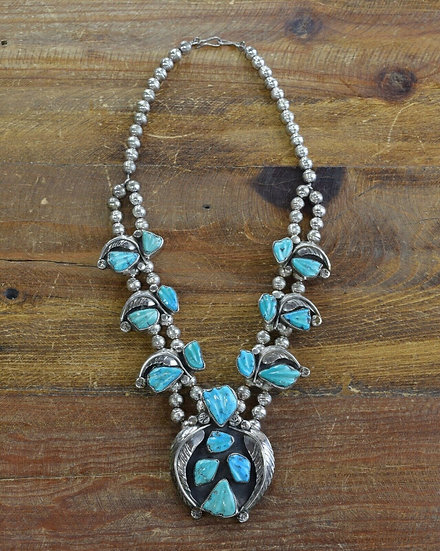 Vintage Cochiti Sterling Silver and Turquoise Necklace by Felicita Eustace