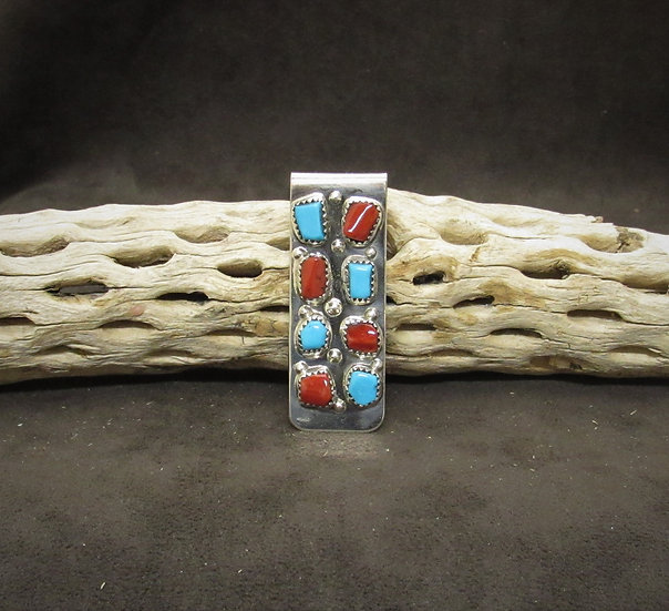Zuni Coral & Turquoise Sterling Silver Money Clip by Curt Cheama