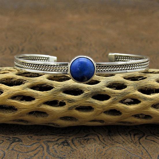 Beautiful Lightweight Sterling Silver Round Lapis Cuff Bracelet