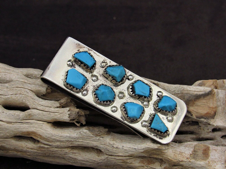 Zuni Turquoise Money Clip by Curt Cheama