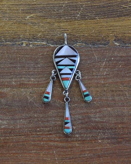 Vintage Zuni Sterling Silver Inlay Pendant