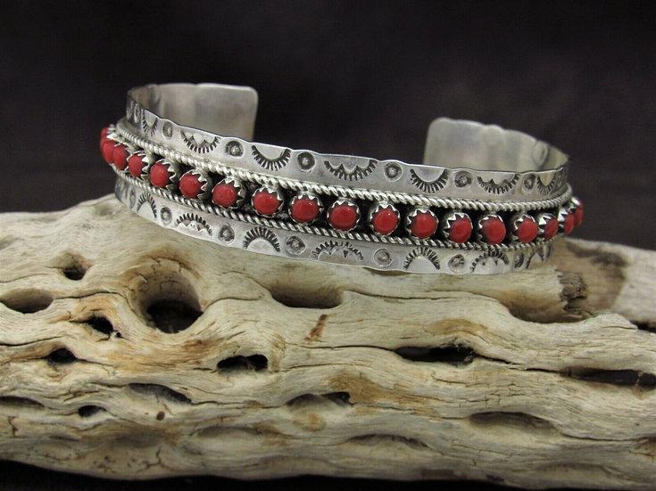 Sterling Silver Snake Eye Coral Cuff Bracelet