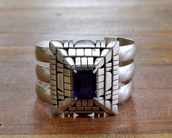 Vintage Southwest Genuine Amethyst Sterling Silver Cuff Bracelet