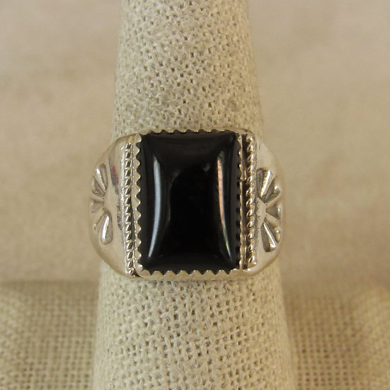 Sterling Silver and Rectangular Black Onyx Ring Size 9
