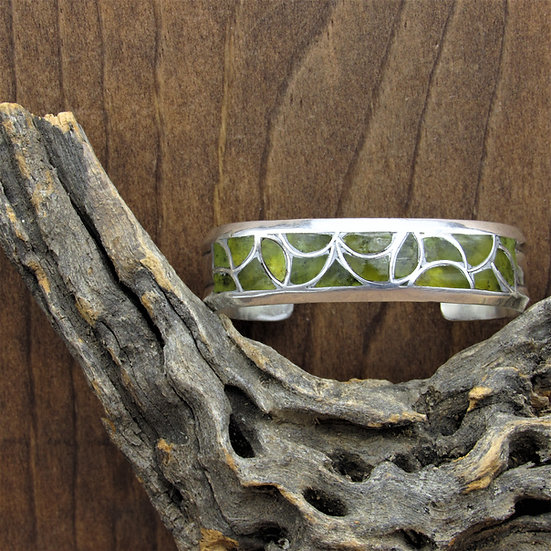 Vintage Sterling Silver and Serpentine Fish Scale Inlay Cuff Bracelet
