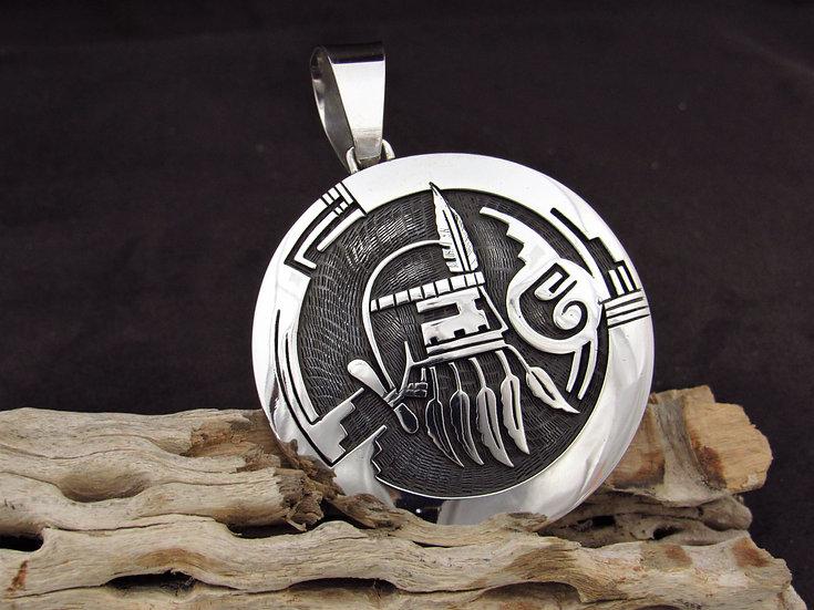 Hopi Sterling Silver Reversible Overlay Kachina Pendant