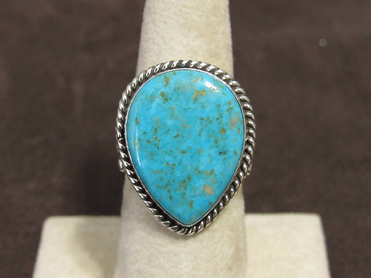 Beautiful Sterling Silver and Tear Drop Turquoise Ladies Ring Size 7.75