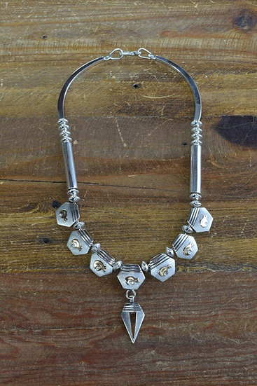 Sterling Silver and 14K Gold Overlay and Bead Bear Necklace by Jack Tom
