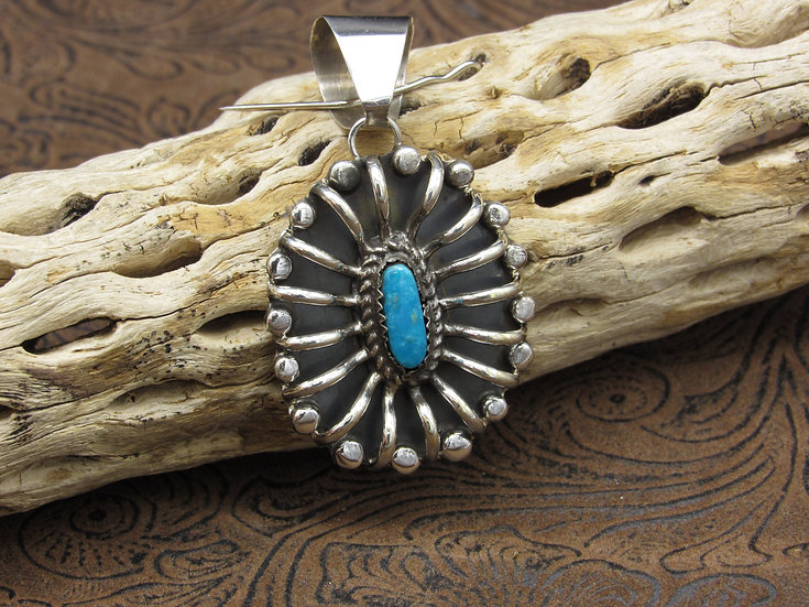 Turquoise Sterling Silver Ribbed Pendant