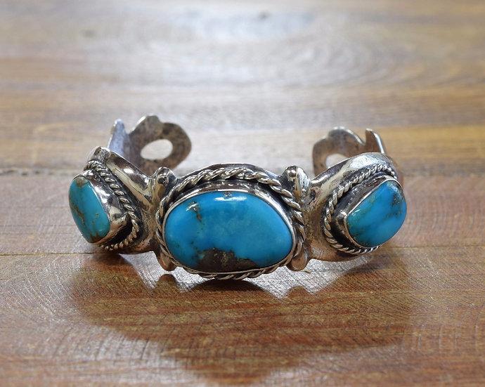 Vintage Turquoise Sterling Silver Sandcast Bracelet