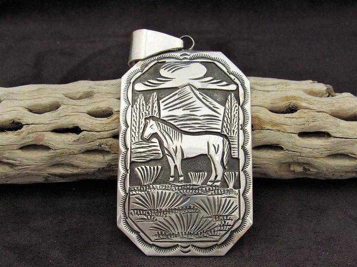 Large Sterling Silver Overlay Horse Scene Pendant