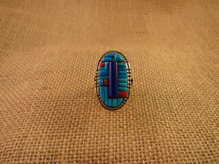 Southwestern Corn Row Inlay Sterling Silver Ring Size 9.75