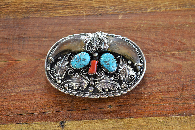 Vintage Turquoise & Coral Sterling Silver Bear Claw Belt Buckle