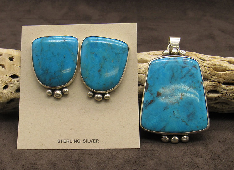 Large Turquoise Sterling Silver Pendant and Earrings Set