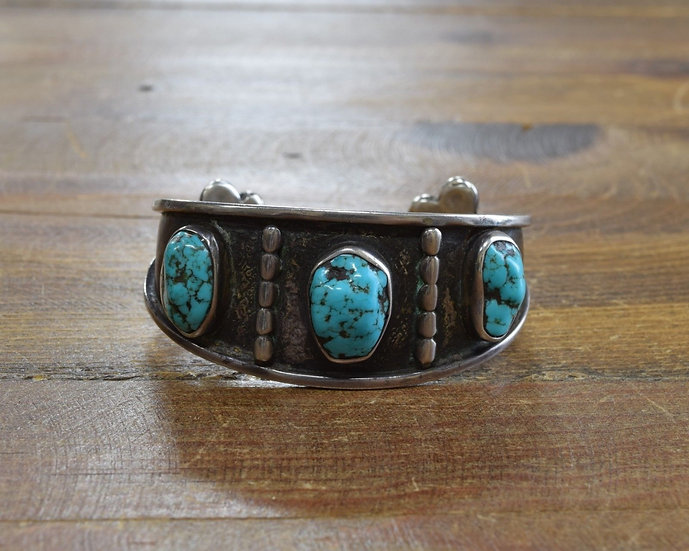 Vintage Southwestern Sterling Silver and Turquoise Cuff Bracelet